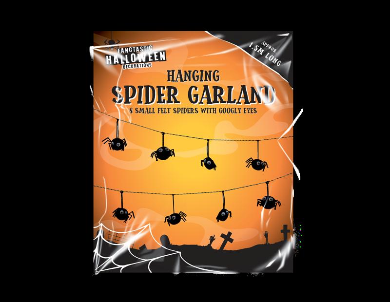 Hanging Spider Garland 1.5M