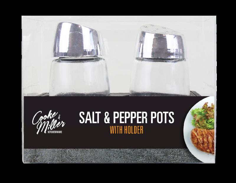 Salt & Pepper Pots With Holder