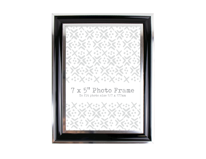 "Black & Silver Photo Frame 7""x5"""