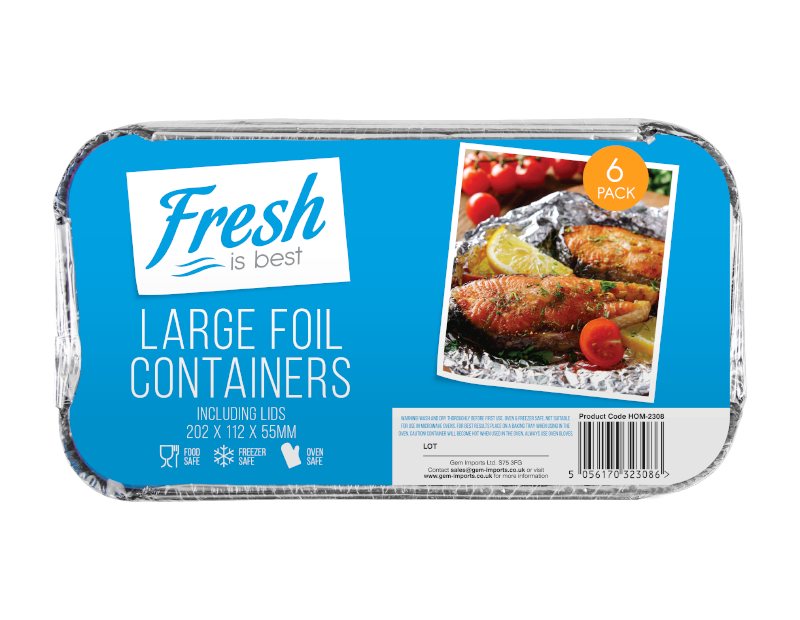 Large Foil Containers & Lids - 6 Pack