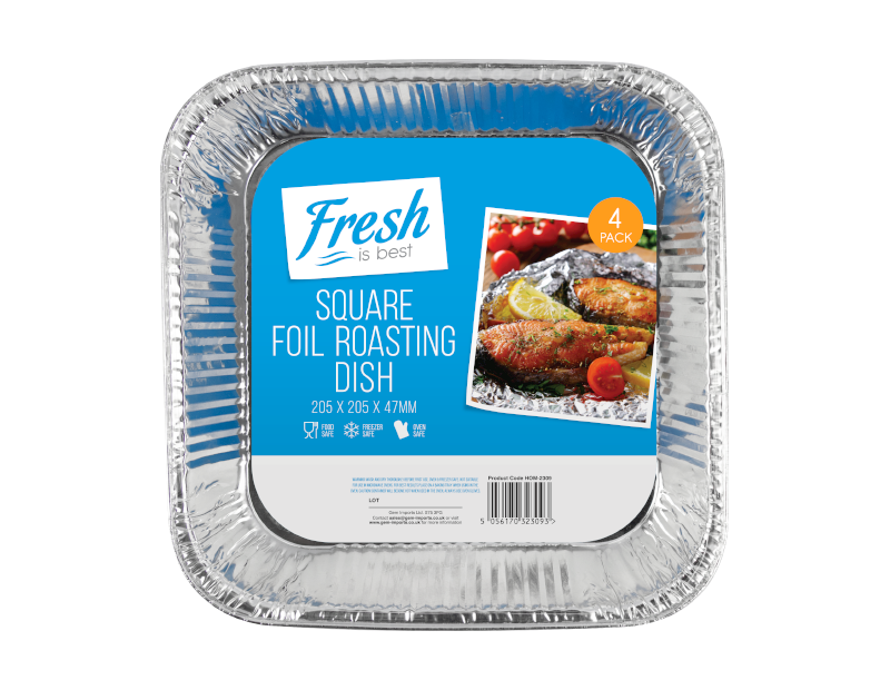 Square Foil Roasting Dishes - 4 Pack