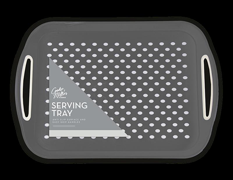 Grey Large Anti Slip Serving Tray