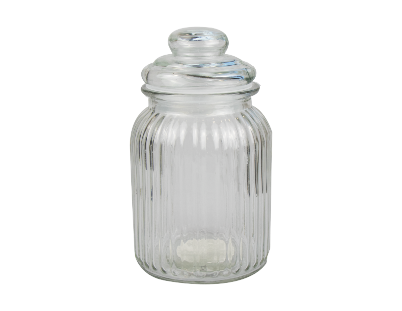 Ribbed Glass Jar with Lid 1000ml