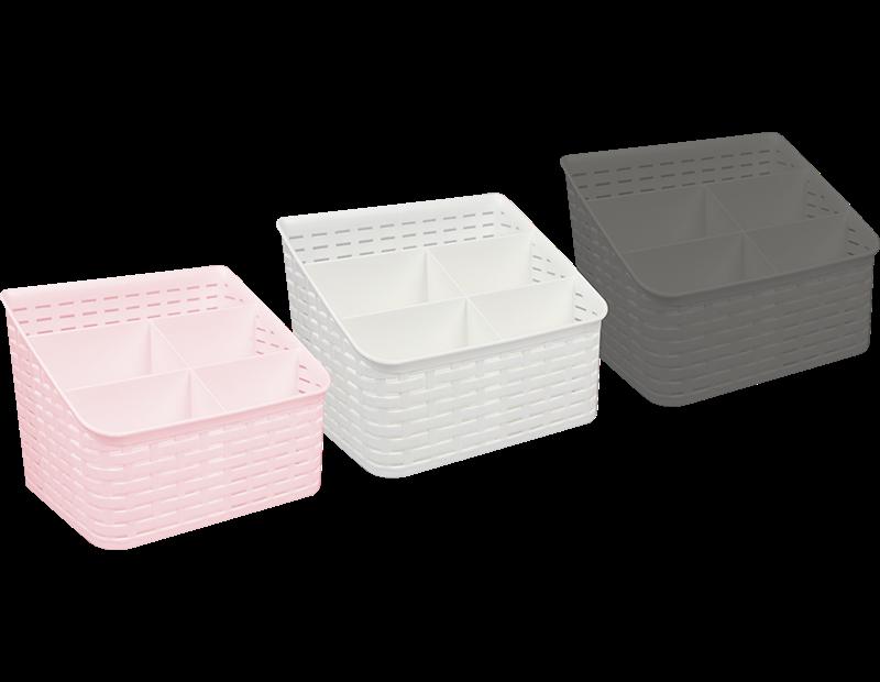 Plastic Rattan Effect Five Section Basket - Trend