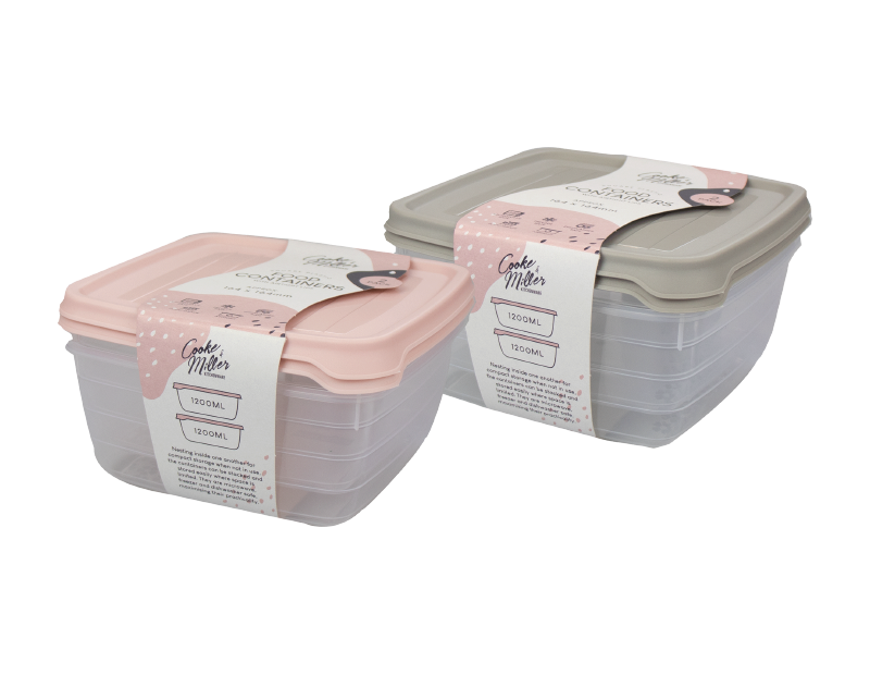 Plastic Food Container 1200ml - Trend - 2 Pack