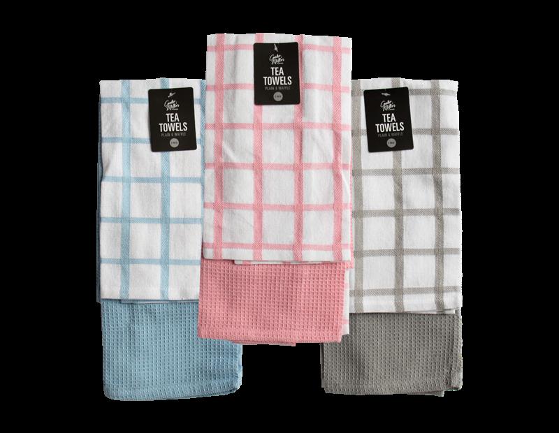 Plain & Waffle Tea Towels - 2 Pack