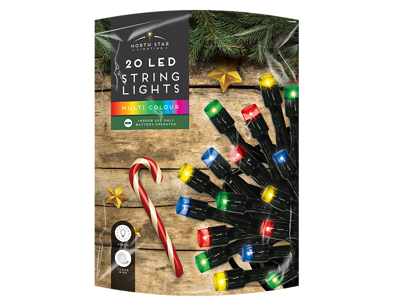 Multi Coloured LED Christmas String Lights - 20 LEDs (With PDQ)