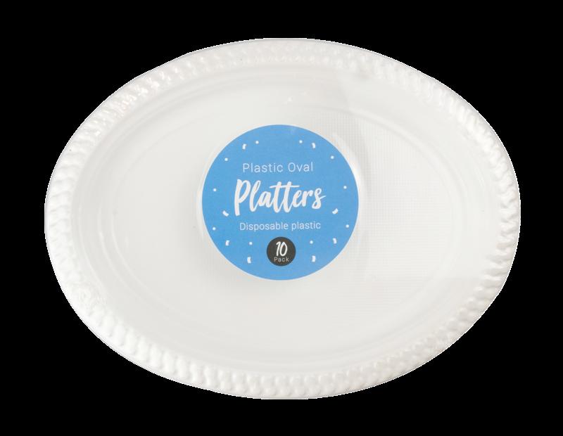 White Plastic Oval Platters - 10 Pack