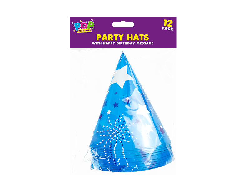 Happy Birthday Paper Hats - 12 Pack