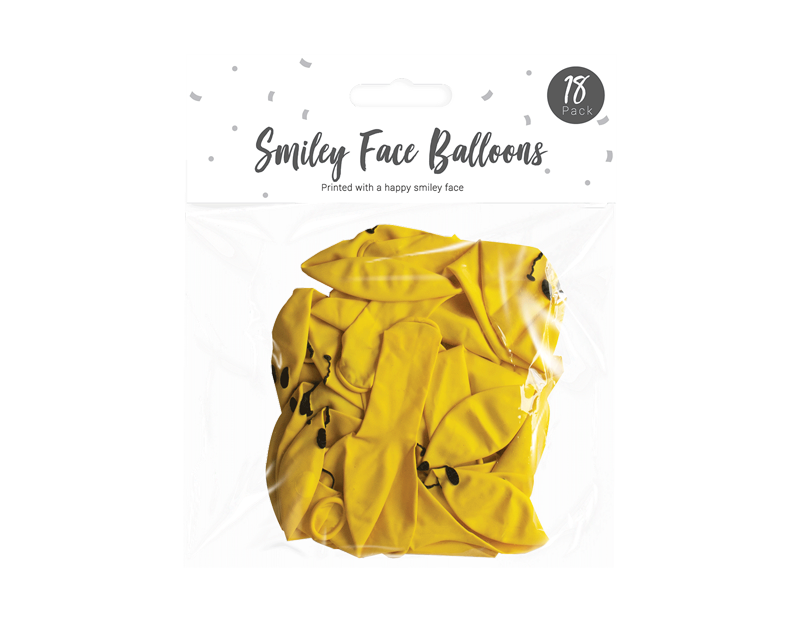 Smiley Face Balloons - 18 Pack
