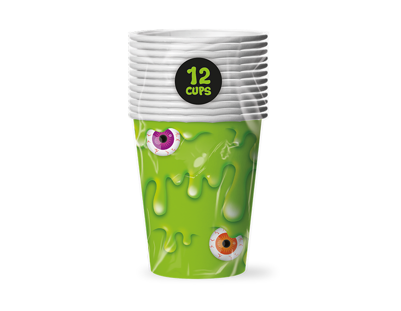 Slime Disposable Paper Cups - 12 Pack