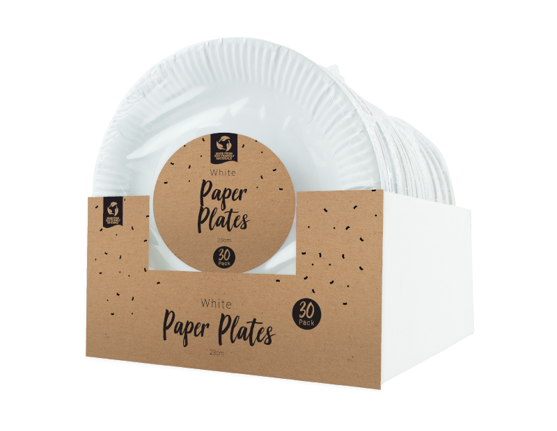 Disposable White Paper Plates 23cm - 30 Pack (With PDQ)
