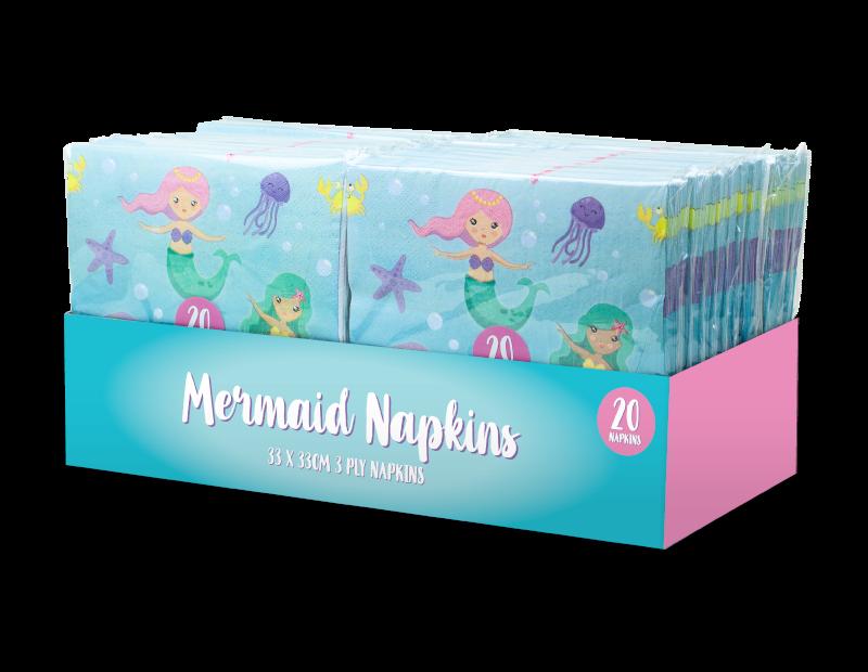 Mermaid Paper Napkins 3 Ply - 20 Pack