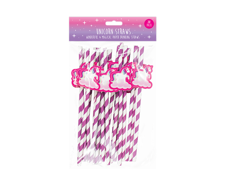 Unicorn Novelty Paper Straws - 20 Pack
