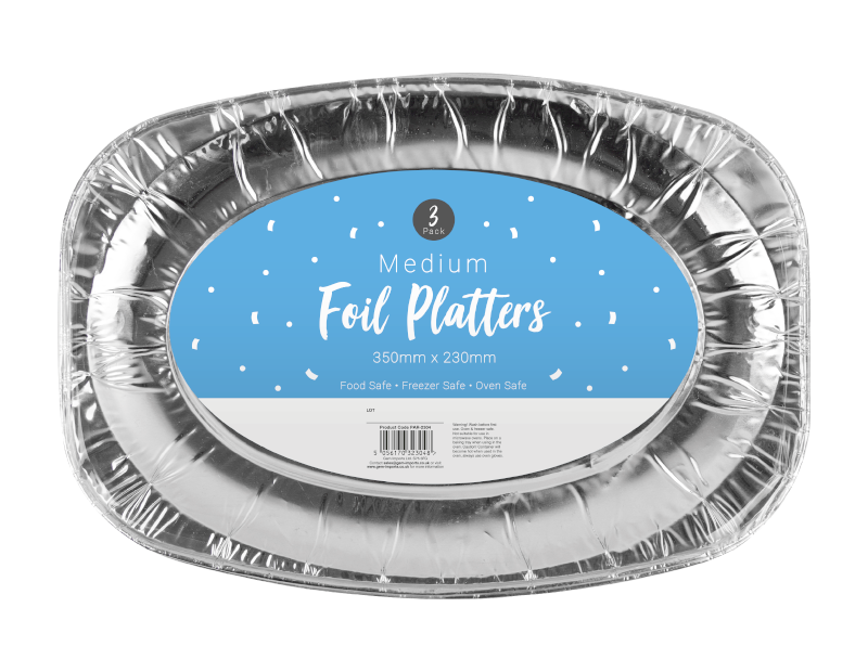 Medium Foil Platters - 3 Pack