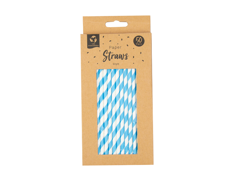 Paper Straws Bright - 50 Pack