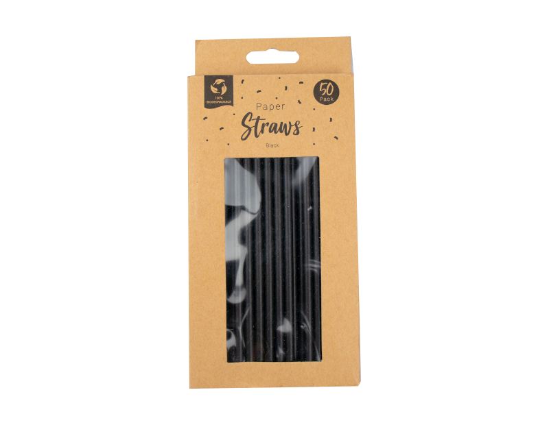 Paper Straws Black - 50 Pack