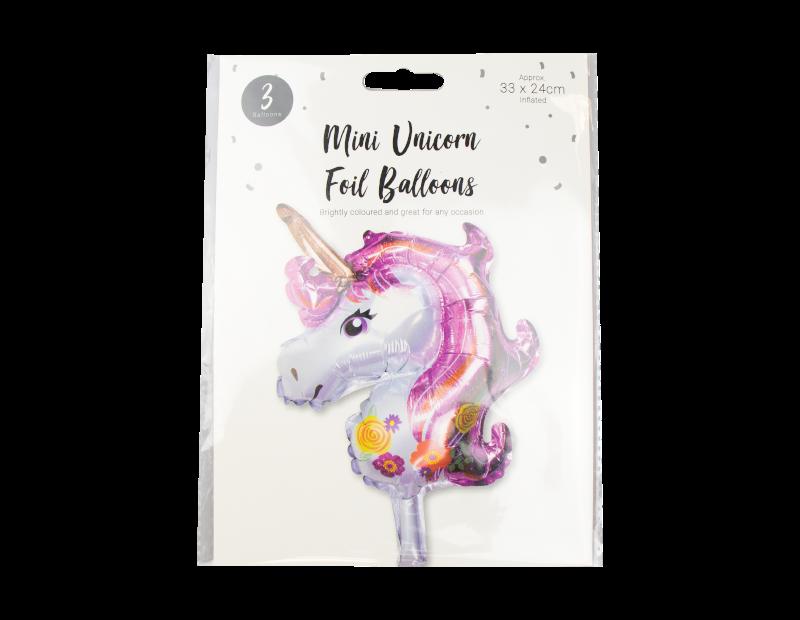 Mini Unicorn Foil Balloons - 3 Pack