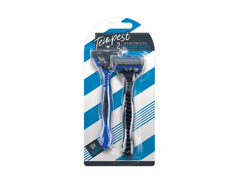 Mens Disposable Six Blade Razors - 2 Pack