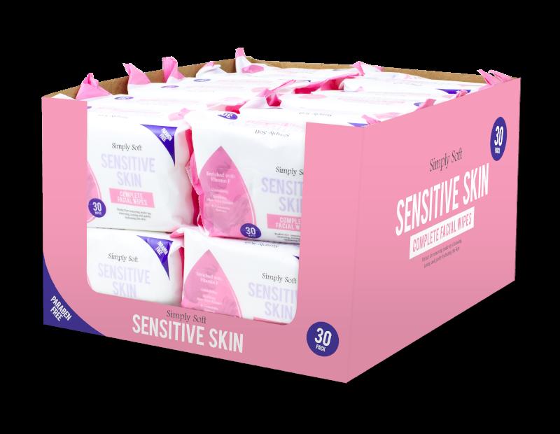 Sensitive Skin Facial Wipes - 30 Pack