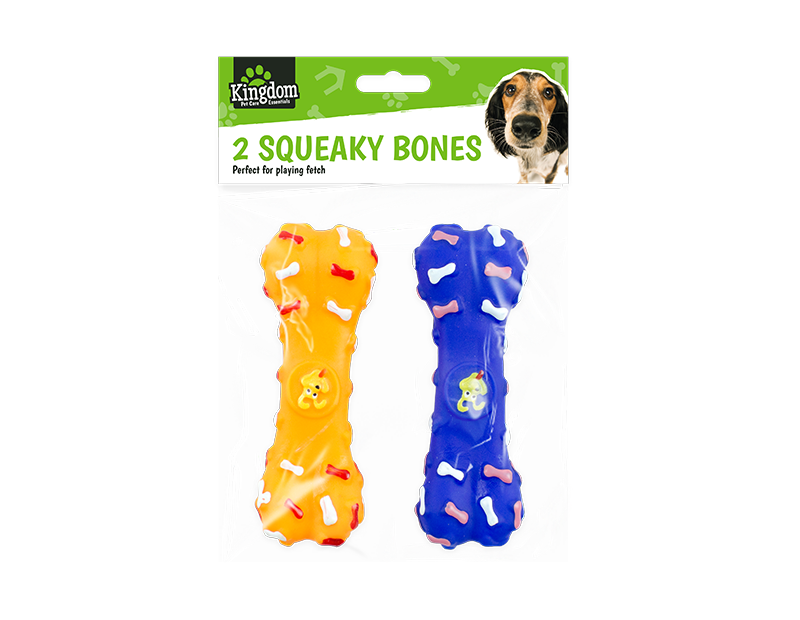 Squeaky Bone Dog Toy - 2 Pack