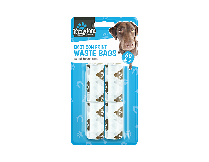 Emoticon Dog Poo Bags - 60 Pack