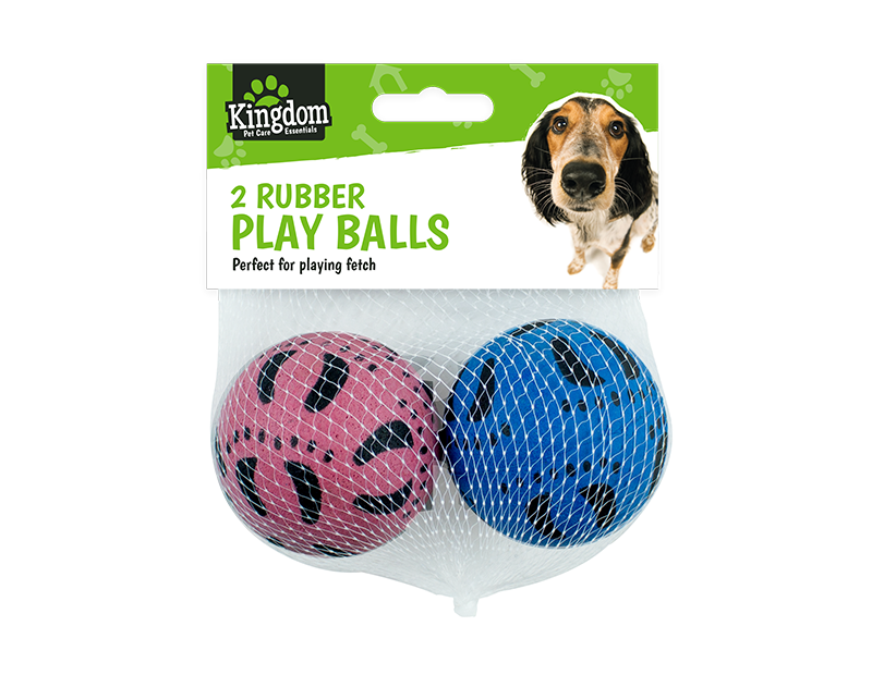 Pet Rubber Play Balls - 2 Pack