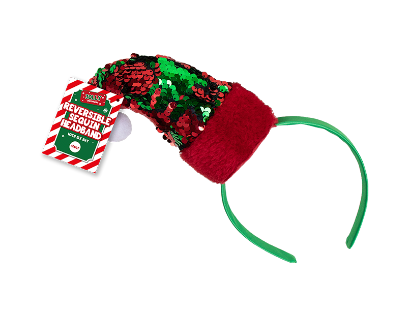 Reversible Sequin Elf Hat Headband