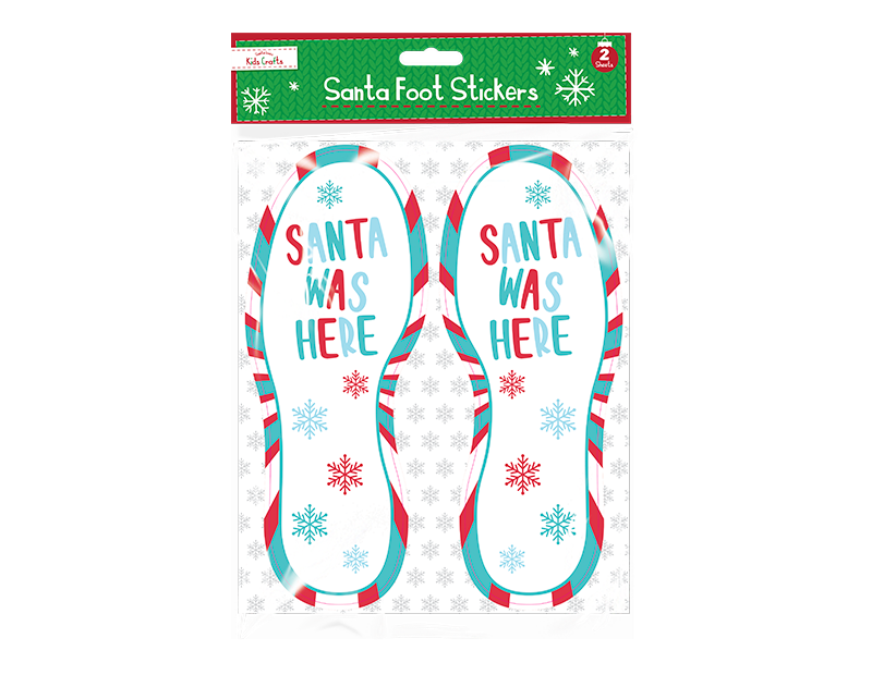 """Santa Was Here"" Footstep Floor Stickers 4 Pack"