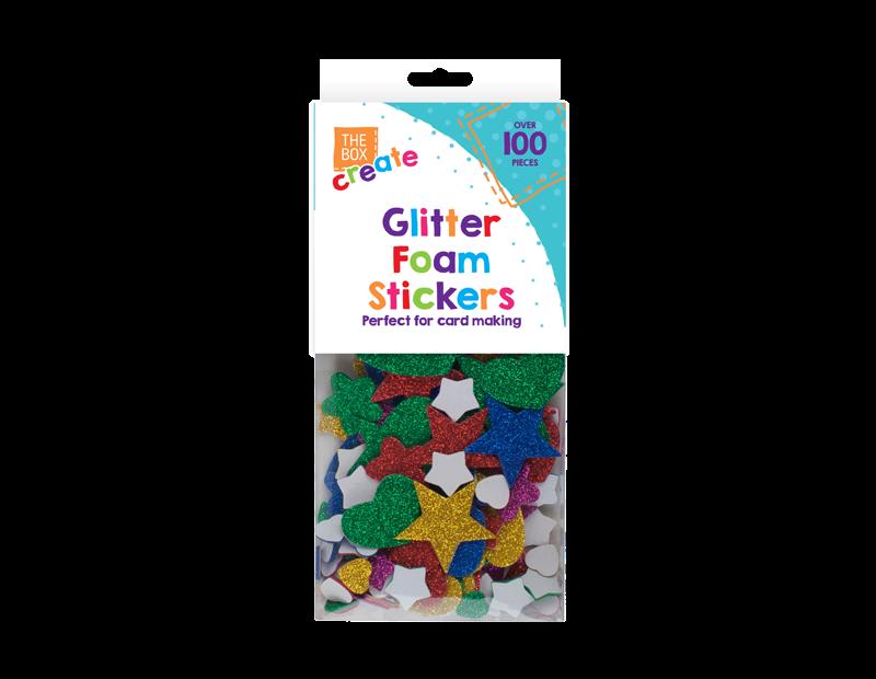 Glittered Foam Craft Stickers - 100 Pack