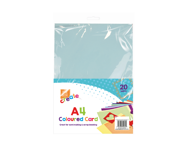 A4 Coloured Card - 20 Pack