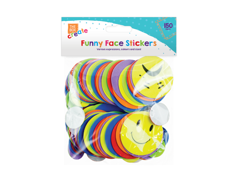 Funny Expressions Foam Stickers - 150 Pack