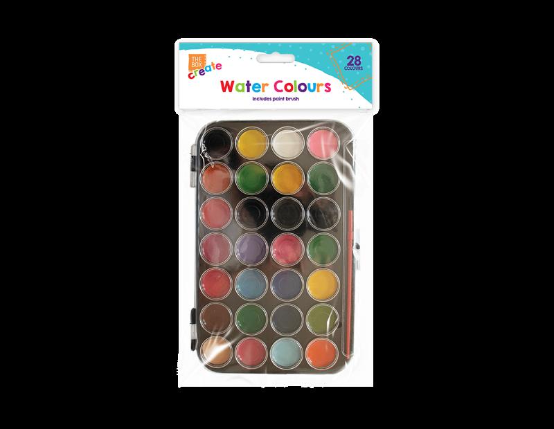 Water Colour Pallet & Brush - 28 Colours