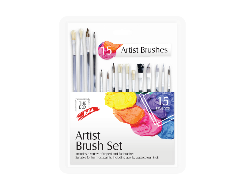 Artist Paint Brush Set - 15 Pack