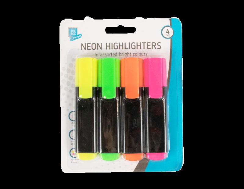 Neon Highlighter Pens - 4 Pack