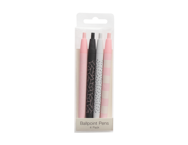 Printed Ball Point Pens - 4 Pack