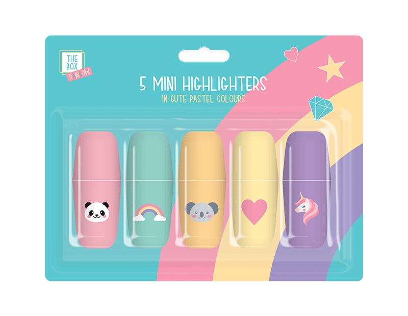 Kids Rainbow Mini Highlighters - 5 Pack