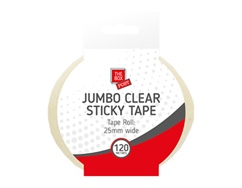 Jumbo Clear Sticky Tape On Clip Strip 120m