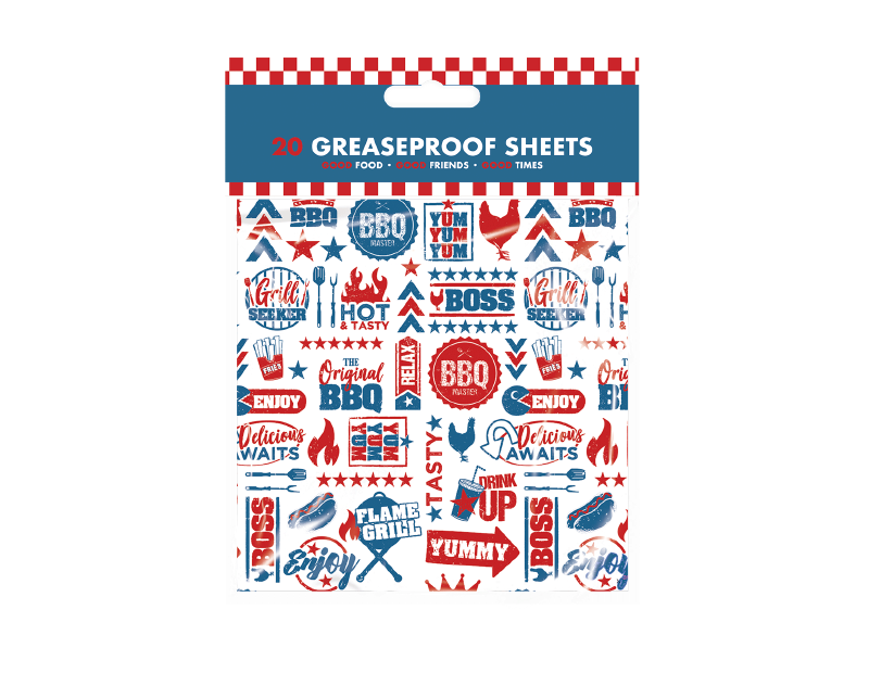 BBQ Greaseproof Sheets - 20 Pack