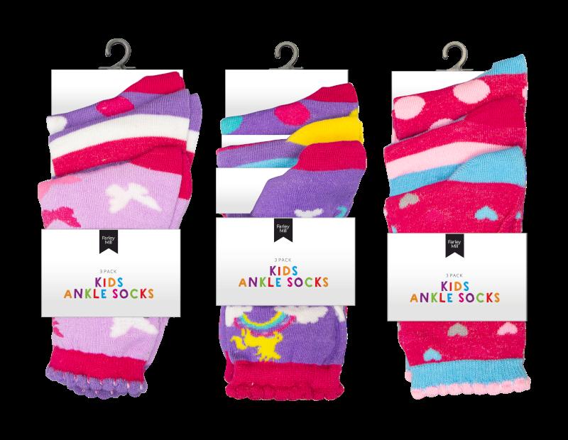 Girls Fashion Ankle Socks - 3 Pairs