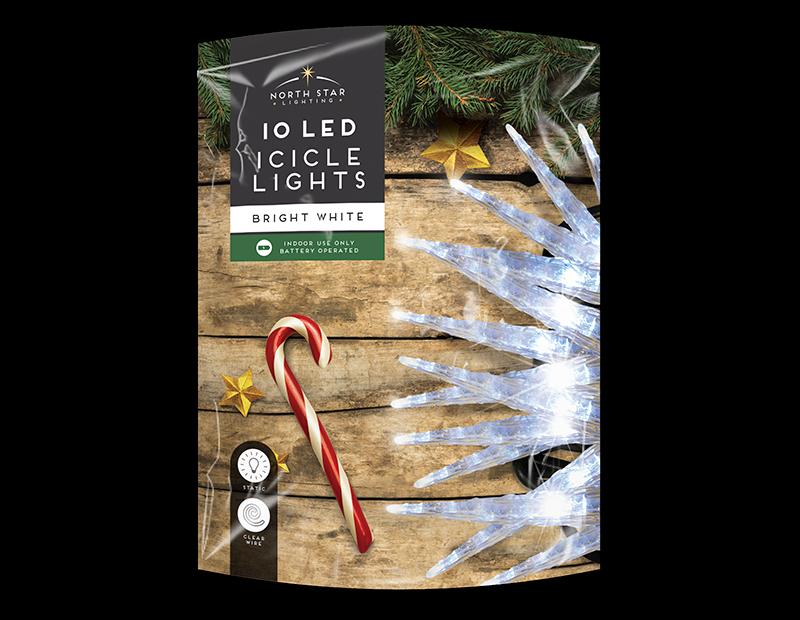 White LED Christmas Icicle Lights - 10 LEDs (With PDQ)