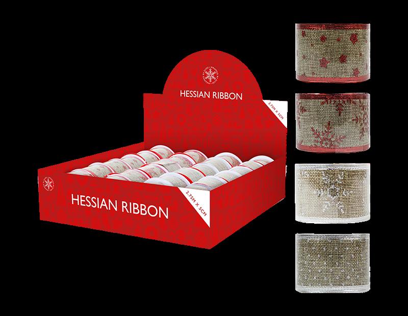 Christmas Glitter Hessian Ribbon 5cm x 2.75m