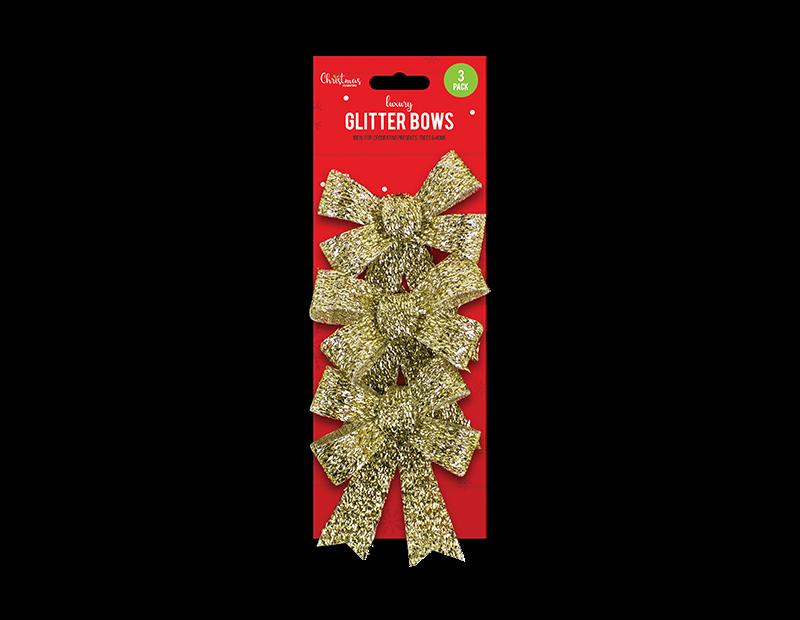 Christmas Glittered Medium Bows