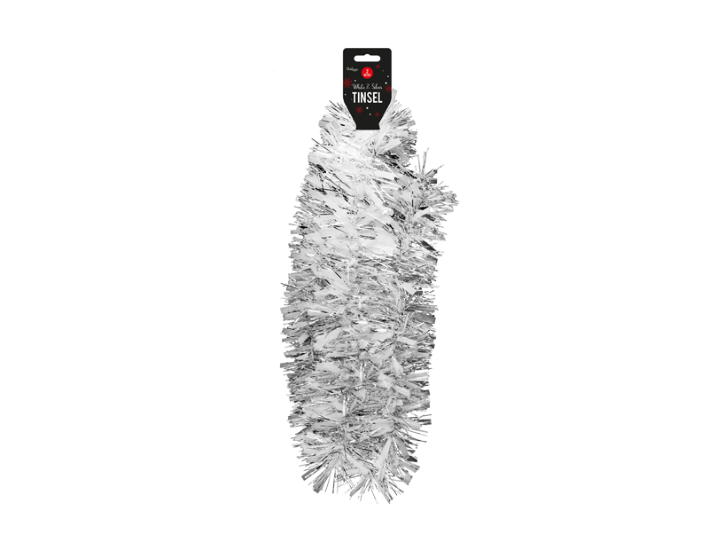 White & Silver Christmas Tinsel 2m