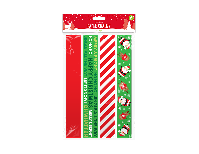 Christmas Paper Chains - 80 Pack