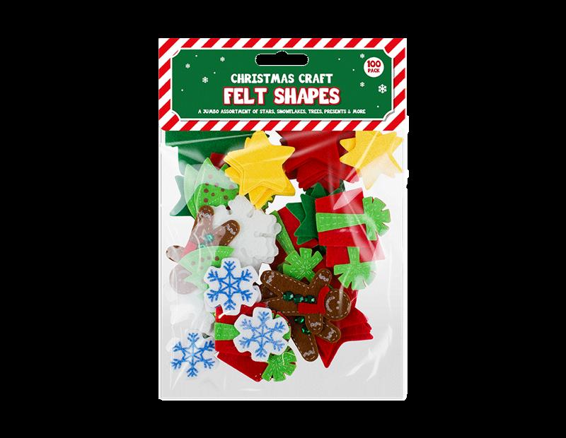 Christmas Craft Felt Pieces - 100 Pack