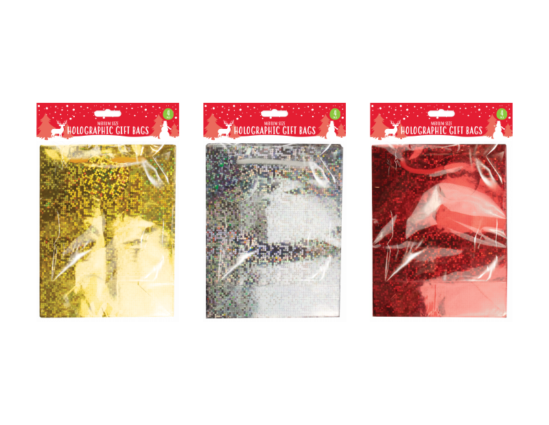 Holographic Medium Christmas Gift Bags - 4 Pack