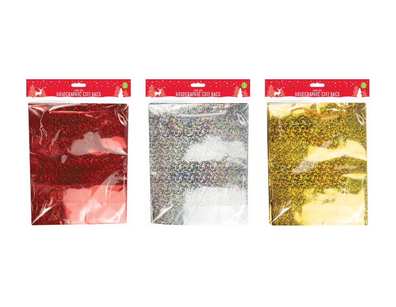 Holographic Large Christmas Gift Bags - 3 Pack
