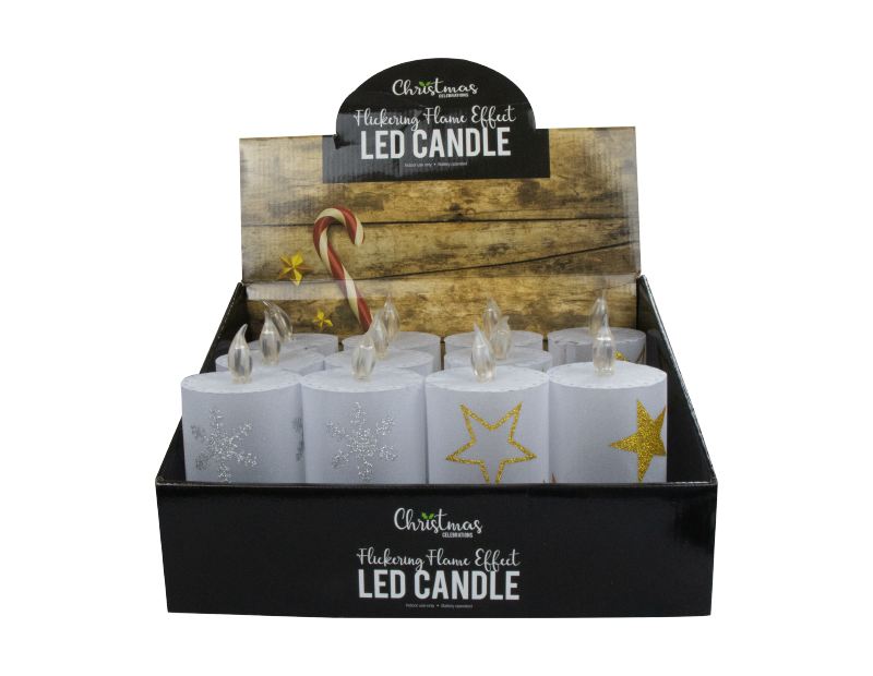 LED Flickering Christmas Pillar Candle With PDQ