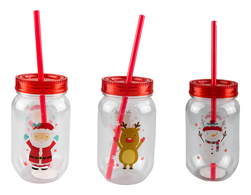 Christmas Mason Drinking Jar & Straw 500ml